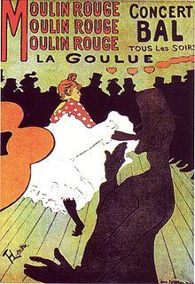 Affiche di Toulouse Lautrec del 1891 che pubblicizza il Moulin Rouge e la sua grande vedette, la ballerina chiamata
