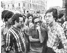 Walter Veltroni con Pier Paolo Pasolini e Ferdinando Adornato negli anni settanta
