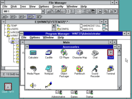 Program Manager di Windows NT 3.1