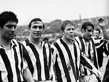 I bianconeri Salvadore, Leonardi, Haller e Anastasi escono dal campo al termine della vittoriosa trasferta del 28 dicembre 1969 contro la Roma.