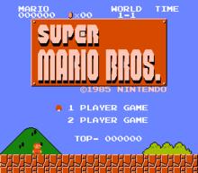 Schermata iniziale di Super Mario Bros