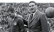 Kurt Hamrin con l'allenatore Nereo Rocco, nella Serie A 1964-1965.
