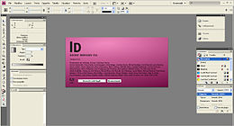 Screenshot della pagina di apertura di Adobe Indesign CS4