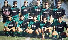 Una formazione del Sassuolo nella stagione 1989-1990: è già in essere il legame con la Mapei, che prosegue sino al presente.