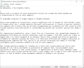 Screenshot di Blocco note