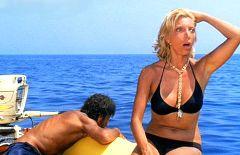 Mariangela Melato, insieme a Giancarlo Giannini nel film Travolti da un insolito destino nell'azzurro mare d'agosto.