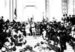 Pertini nella cerimonia d'inaugurazione della bandiera degli ex combattenti a Stella nel 1921.