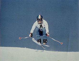 Herbert Plank in una fase della discesa libera nel 1979