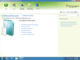Screenshot della dashboard di Windows Home Server V2
