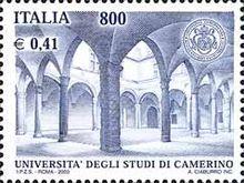Un francobollo dedicato all'Università di Camerino.