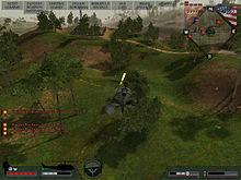 Screenshot della visuale da un elicottero in volo.