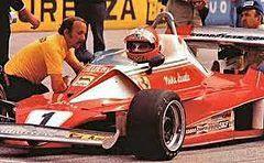 Lauda al Gran Premio d'Italia, il primo dal rientro dopo l'incidente del Nürburgring.