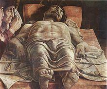 Andrea Mantegna: Cristo morto e tre dolenti (1480-1490 ca), Milano, Pinacoteca di Brera, da Mantova, Palazzo Ducale
