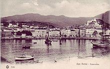 Sanremo panorama del porto in una cartolina d'epoca