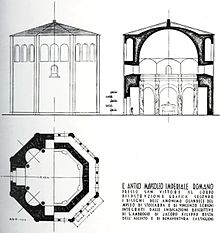 Ricostruzione del Mausoleo imperiale, secondo Piero Portaluppi.