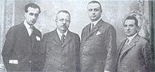 Da destra, Giovanni Laterza, Stefano Jacini, Croce e un personaggio non identificato