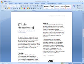 Screenshot di Microsoft Office 2007