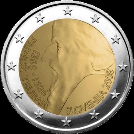 Primož Trubar raffigurato sulla moneta da 2 euro nel 2008 per celebrare i 500 anni della sua nascita