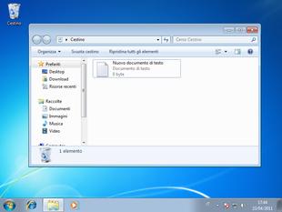 Windows 7 con il cestino.