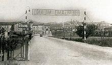 L'ingresso di Bergamo dell'allora autostrada Milano-Bergamo, nel 1928
