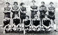 L'Asti T.S.C. nella stagione 1983-84. Da sinistra, in piedi: Allegrini, Grossi, Cassano, Spollon, Bocchino, Franchini. Accosciati: Spigoni, Cappelletti, Pillon, Venturini, Prevedini.