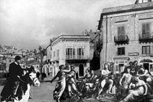 L'intero Parnaso, con Apollo e le nove Muse, nella piazza centrale canicattinese