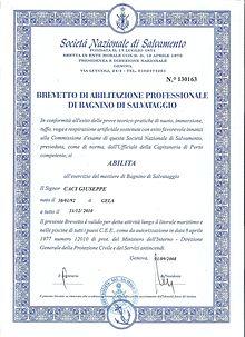 Brevetto di bagnino rilasciato dalla S.N.S. Genova.
