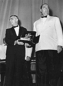 Mario Monicelli e Roberto Rossellini al Festival del cinema di Venezia nel 1959