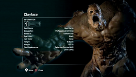 La scheda biografica di Clayface in Batman: Arkham City