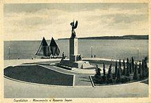 Capodistria, monumento a Nazario Sauro inaugurato il 9 giugno 1935 alla presenza del Re Vittorio Emanuele III