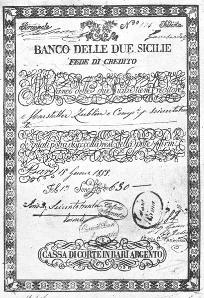 Fede credito bari 1858