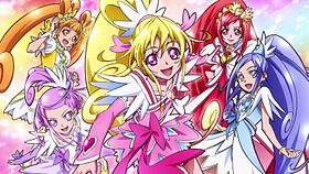 Da sinistra: Cure Rosetta (Arisu), Cure Sword (Makoto), Cure Heart (Mana), Cure Ace (Aguri) e Cure Diamond (Rikka)