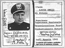Tessera di Gelli appartenente ad una delle organizzazioni del PNF (1941).