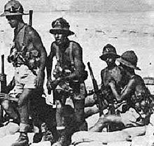 Fanti italiani nel Nordafrica durante la battaglia di El Alamein