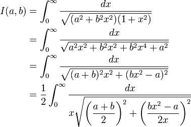 \begin{align}I(a,b) &=\int_{0}^{\infty}\frac{dx}{\sqrt{(a^2+b^2x^2)(1+x^2)}}\\ &=\int_{0}^{\infty}\frac{dx}{\sqrt{a^2x^2+b^2x^2+b^2x^4+a^2}}\\ &=\int_{0}^{\infty}\frac{dx}{\sqrt{(a+b)^2x^2+(bx^2-a)^2}}\\ &=\frac{1}{2}\int_{0}^{\infty}\frac{dx}{x\sqrt{\left(\displaystyle\frac{a+b}{2}\right)^2+\left(\displaystyle\frac{bx^2-a}{2x}\right)^2}}\\ \end{align}