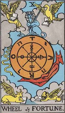 https://upload.wikimedia.org/wikipedia/ja/thumb/3/3c/RWS_Tarot_10_Wheel_of_Fortune.jpg/220px-RWS_Tarot_10_Wheel_of_Fortune.jpg