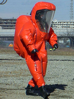 Yokohama City Fire Bureau rescue team equipped with positive pressure chemical protective suit