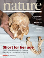 Cover of Nature October 2004-Homo floresiensis.jpg