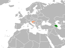 Map indicating locations of Azerbaijan and Croatia