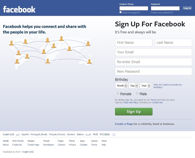 Facebook login home page full site facebook p