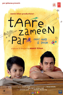 "A smiling, young Indian boy sits at a desk with his head resting on his folded arms in front of him. Behind him and to his right, a young Indian man is doing the same and is looking at the boy. Above them is the film's title ""Taare Zameen Par"" with the subtitle of ""Every Child is Special"". Drawings of a bird, plane, octopus, and fish are in the background."