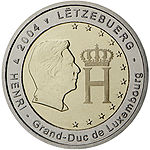 €2 commemorative coin Luxembourg 2004.jpg