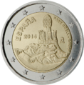 €2 commemorative coin Spain 2014.png