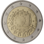 Commemorative 2 Euro coin in Lithuania containing the European flag.png