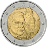 €2 commemorative coin Luxembourg 2008.png