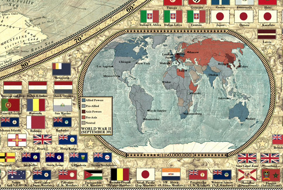 Pasaules karte Otrā pasaules kara sākumā