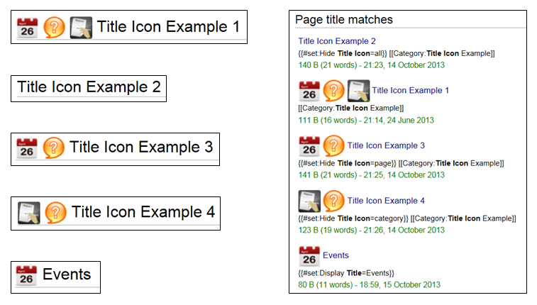 Display of examples for the Title Icon extension