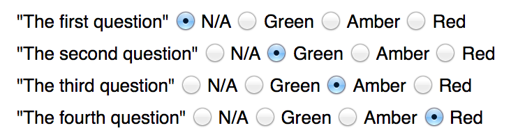 Checklist Questions Ordinary Buttons