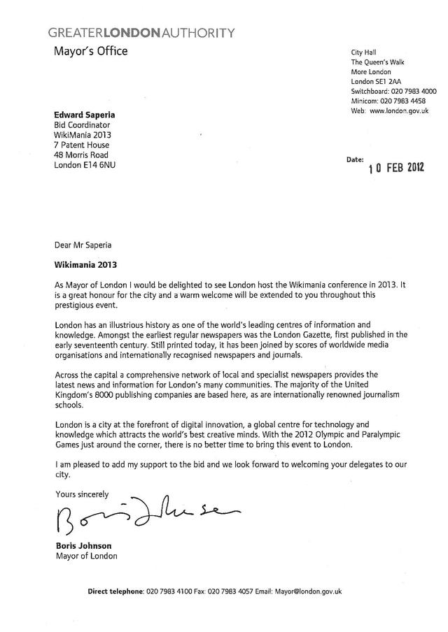 FileWikimania 2013 London letter of support Mayor of