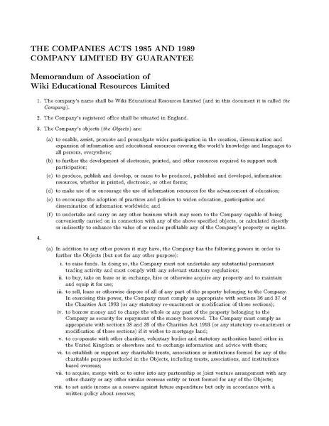 memorandum of association wikipedia